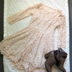 Free People Peach Leaf Lace Dress